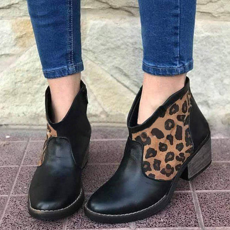 Women Casual Leopard Hit Color Zipper Mid Heel Boots