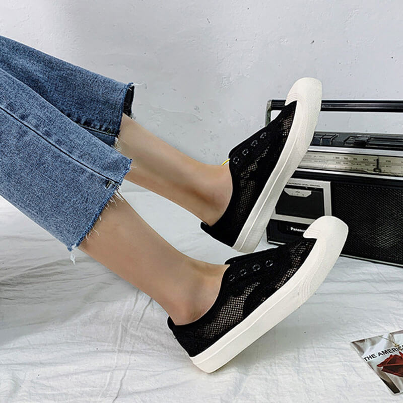 Women Casual Lace Slip On Flat Heel Skate Shoes