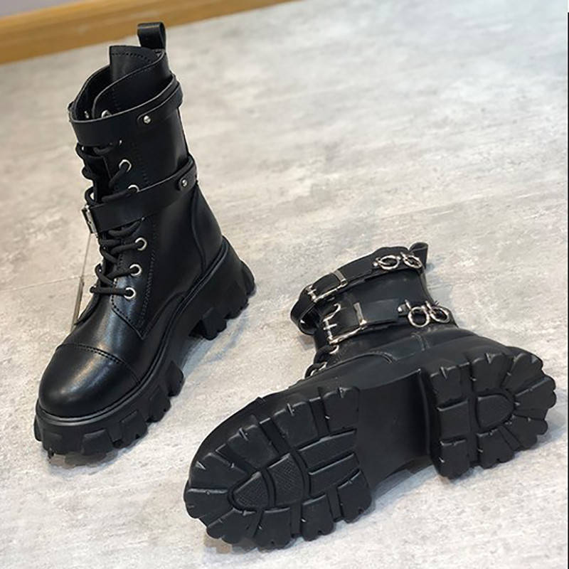 Women Stylish Buckle Decor Lace Up Platform Martin Boots