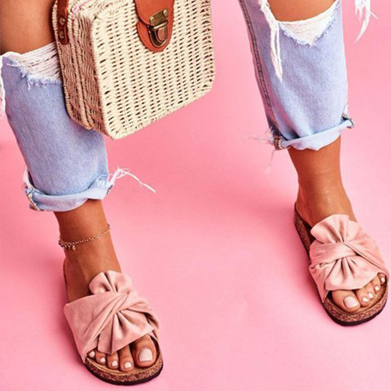 Women Casual Plus Size Bowknot Slip On Flat Heel Slippers