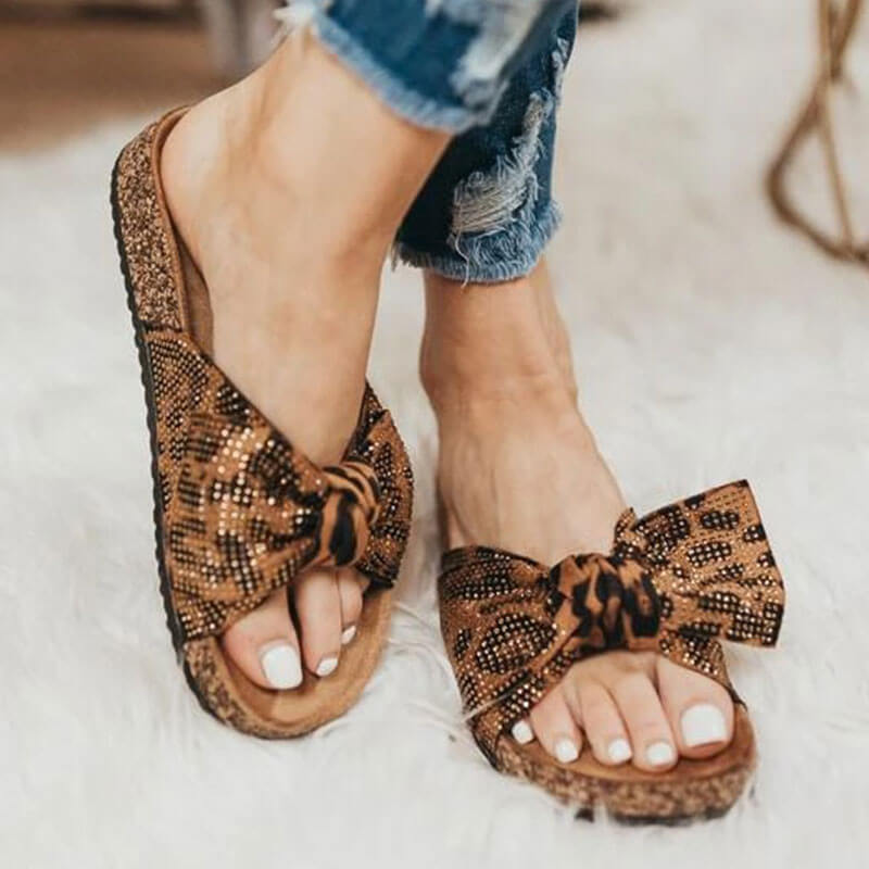 Women Fabric Rhinestones Leopard Slip On Flat Heel Footbed Slippers