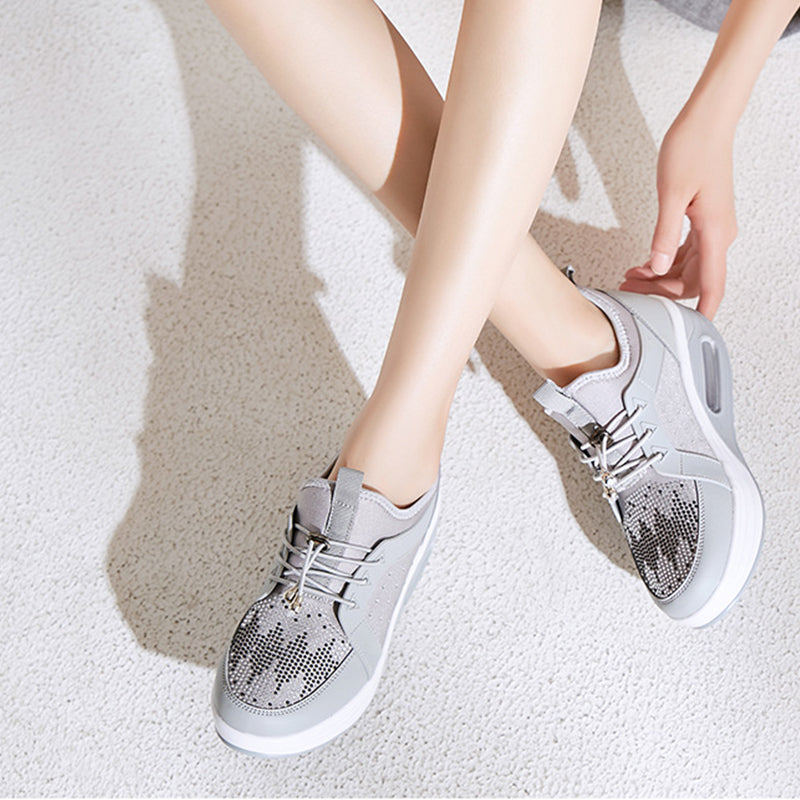 Women Casual Rhinestone Wedge Heel Slip On Sneakers