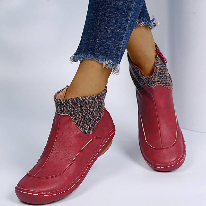 Women Stylish Hit Colors Zipper Softy Low Heel Boots