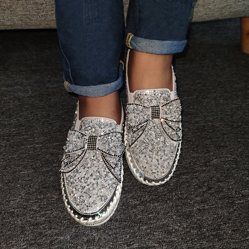 Women Shining Rhinestone Bowknot Slip-on Slippers