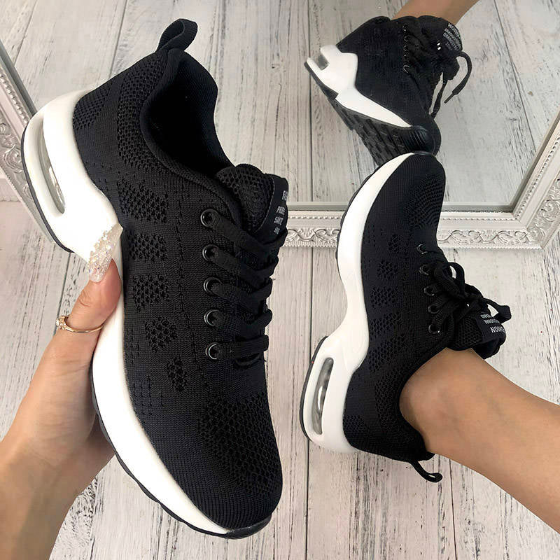 Women Flyknit Fabric Hit Color Lace-up Air Cushion Sneakers
