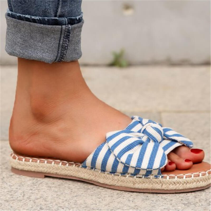 Women Canvas Stripe Bowknot Slip On Flat Heel Espadrille Slippers