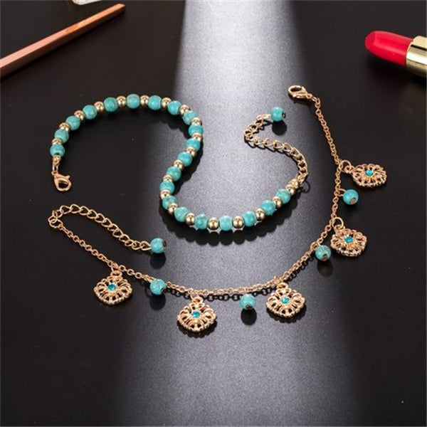 Bohemia Multi-layer Turquoise Beaded Anklet Hollow Flowers Chain Ankle Jewelry Gifts