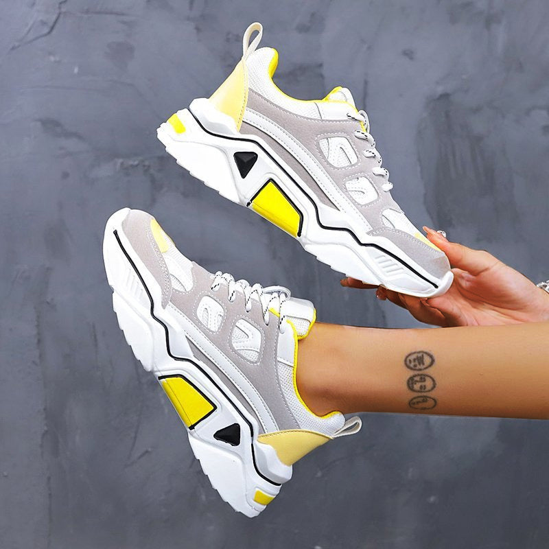 Women Fabric Hit Color Lace-up Platform Sneakers