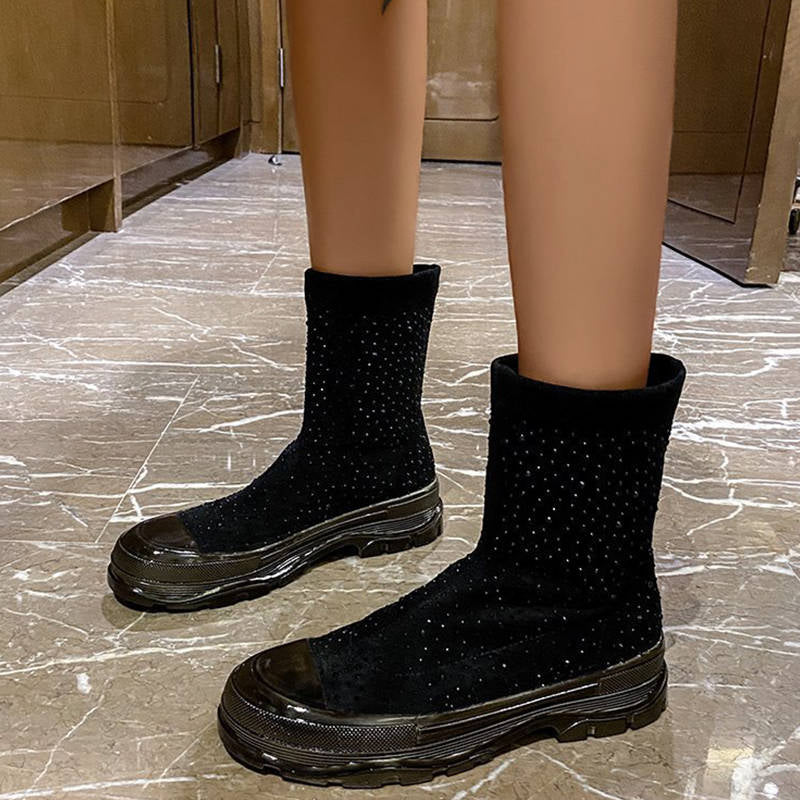 Women Cozy Rhinestone Sparkling Slip On Platform Sock  Boots