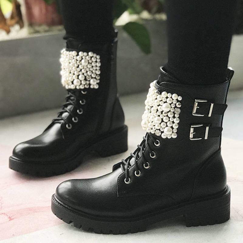 Women Fashion Pearl Buckle Strap Zipper Chunky Heel Martin Boots