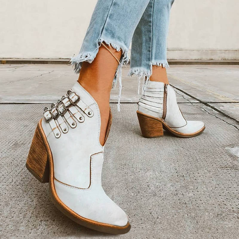 Women Stylish Buckle Decor Split Joint Pointed Toe Zipper Open Vamp Booties