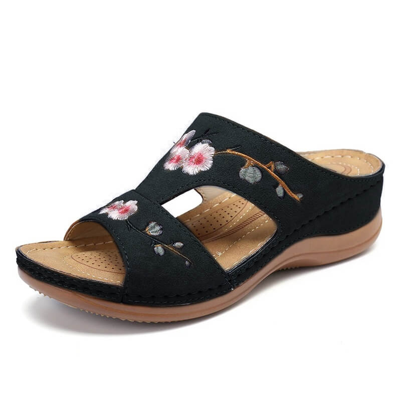 Women Casual Flower Embroidery Open Toe Slip On Platform Slippers