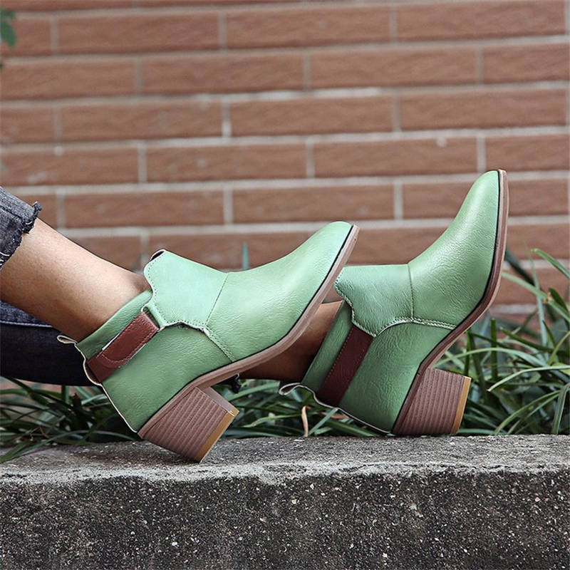 Women Elegant Velcro Mixed Colors Chunky Heel Boots
