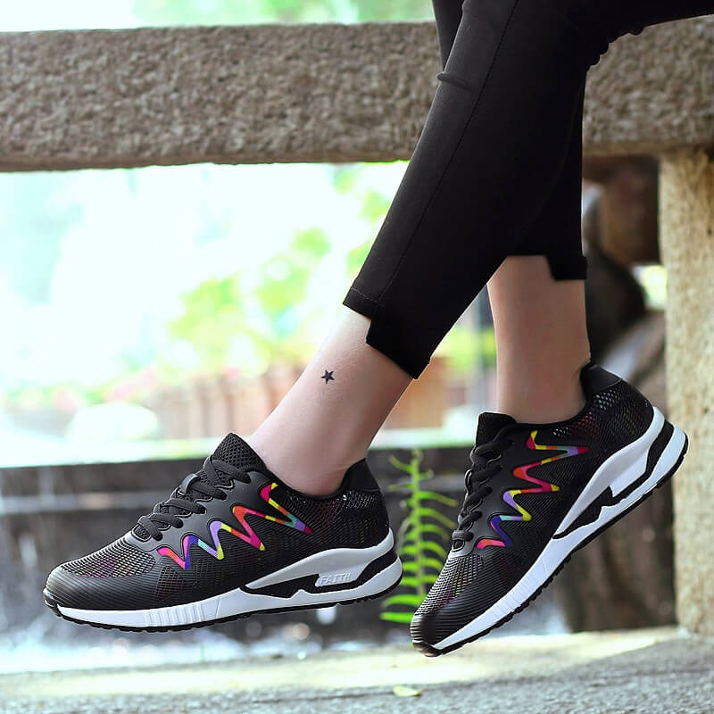 Women Fashion Hit Color Fabric Lace Up Platform Sneakers