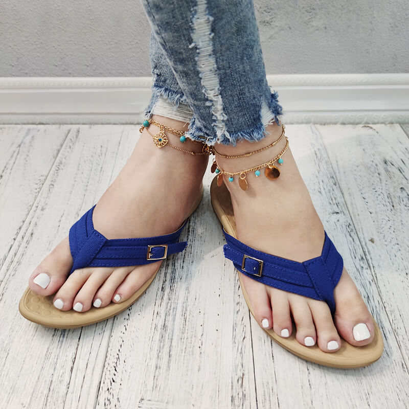 Women Casual Solid Color Thongs Slip On Flat Heel Slippers