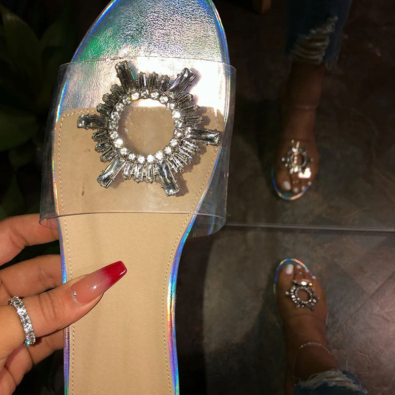 Women Casual Rhinestones Open Toe Slip On Flat Heel Slippers