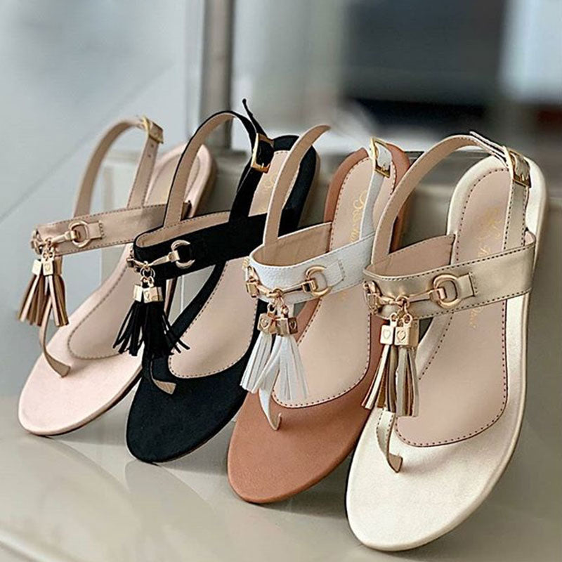 Women Tassel Thongs Buckle Strap Flat Heel Sandals
