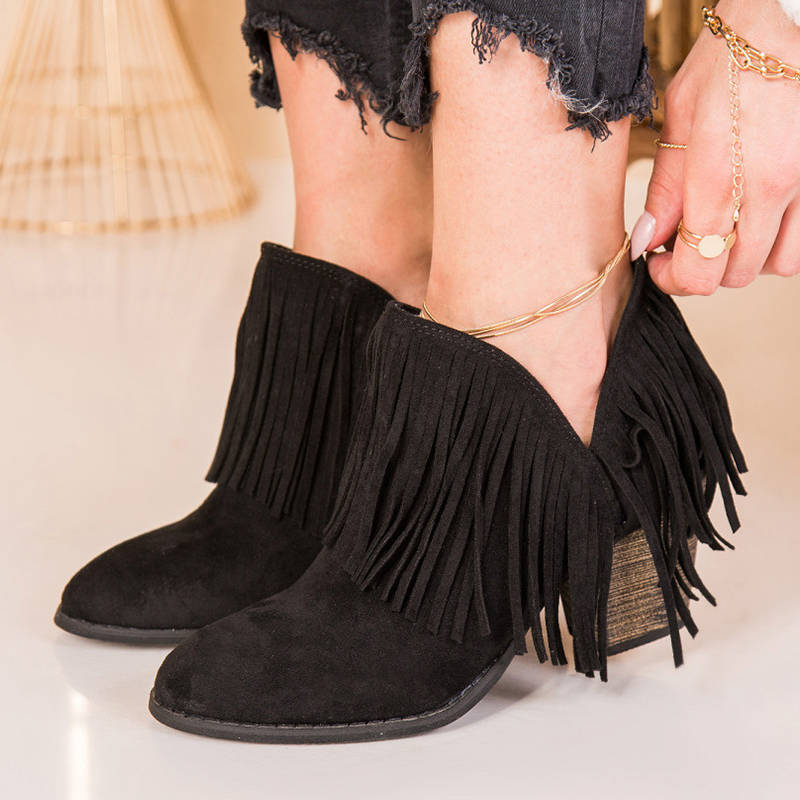 Women Stylish Tassel Slip On Chunky Heel Side Cut Booties