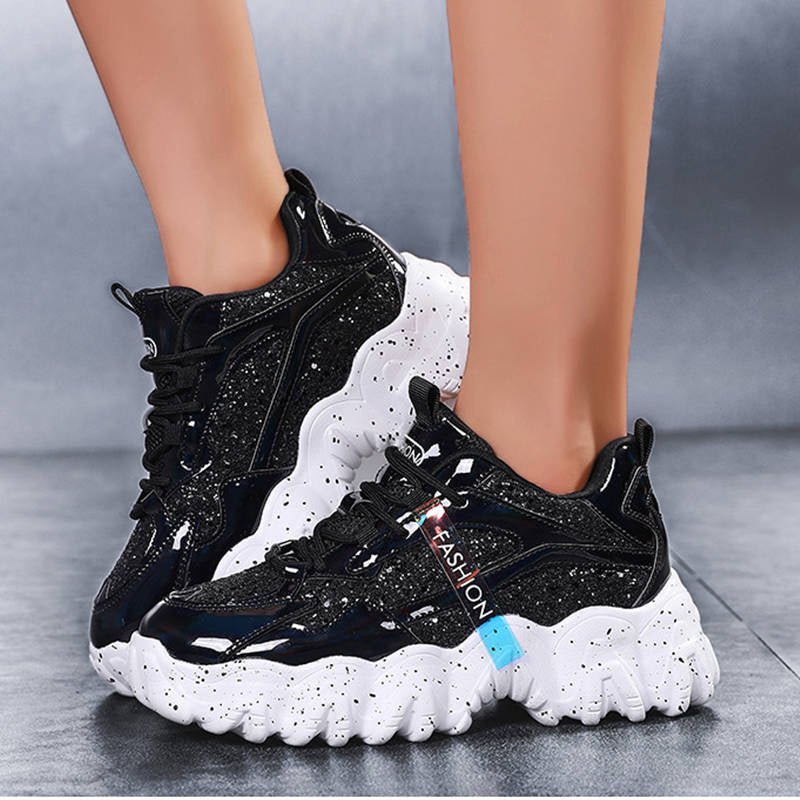 Women Cool Fashion Sparkle Sequin Lace UpPlatform Sneakers