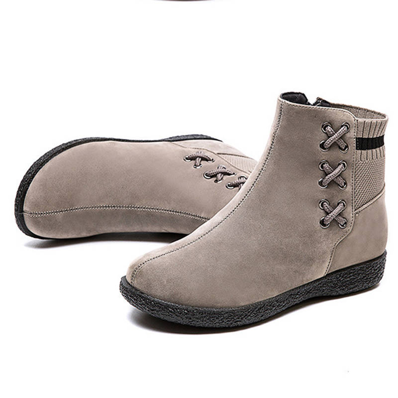 Women Simple Suede Woolen Split Joint Inner Fur Zipper Flat Heel Boots