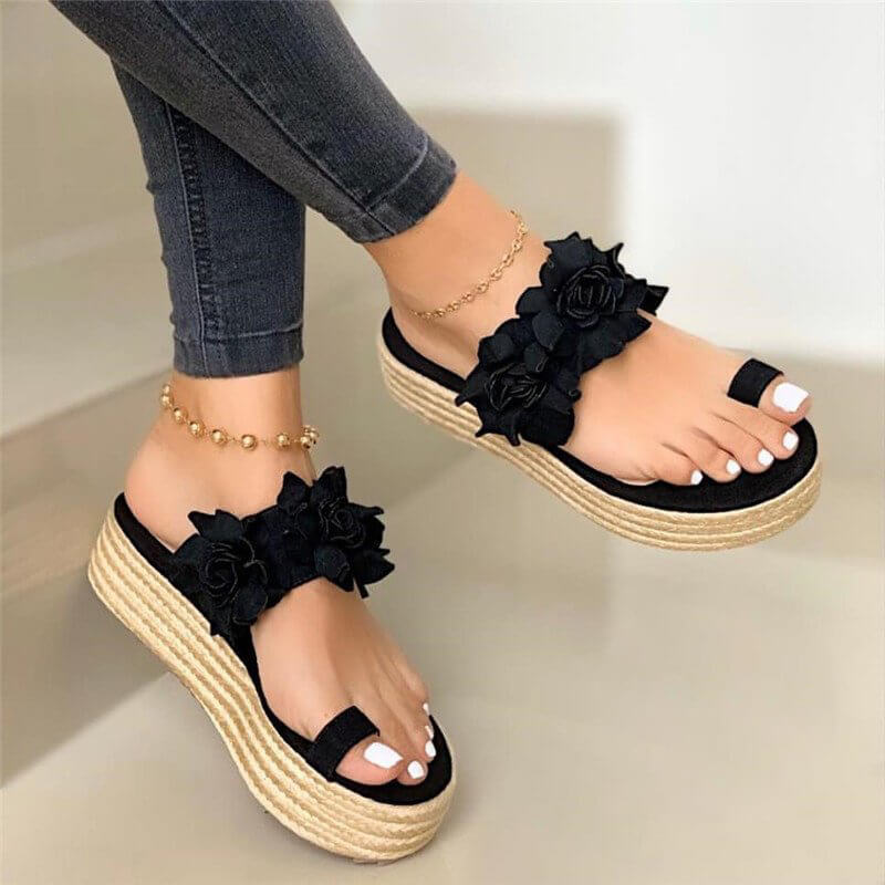 Women Casual Flower Espadrille Platform Heel Sandals
