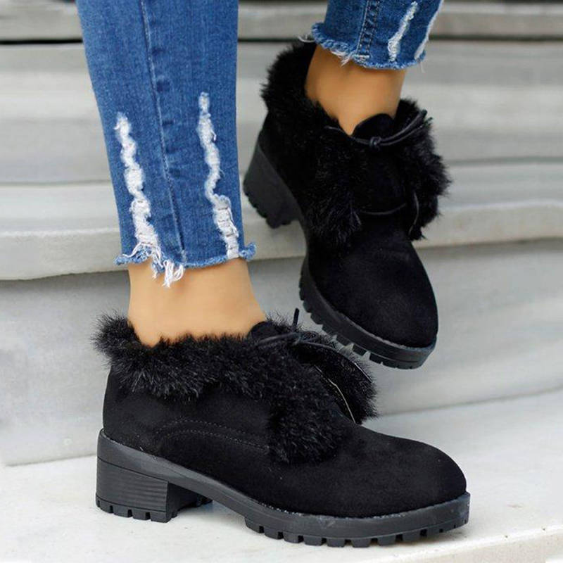 Women Casual Artificial Suede  Lace Up Chunky Heel Boots