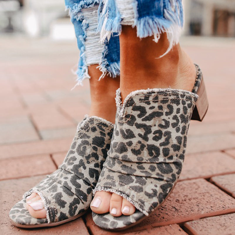 Women Casual Leopard Peep Toe Wedge Sandals