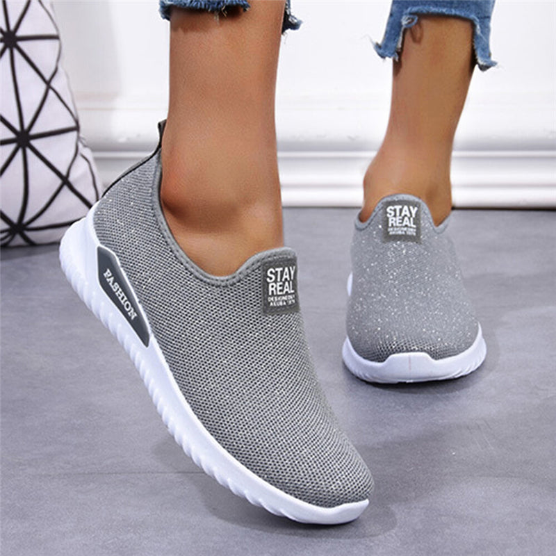 Women Casual Mesh Little Shining Slip On Breathable Non-slip Platform Sneakers