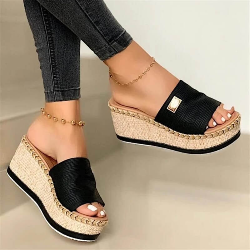 Women Fabric Open Toe Wedge Heel Platform Slippers