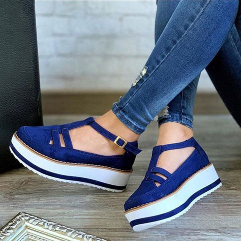 Women Casual Plus Size Buckle Strap Creepers T-Strap Sandals