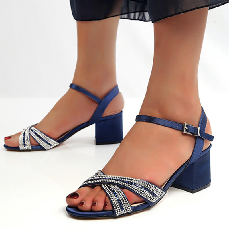 Women Fashion Cross-Strap Rhinestone Chunky Sandals
