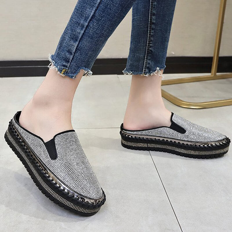 Women Fahion Large Size Shining Rhinestone Slip-on Slippers