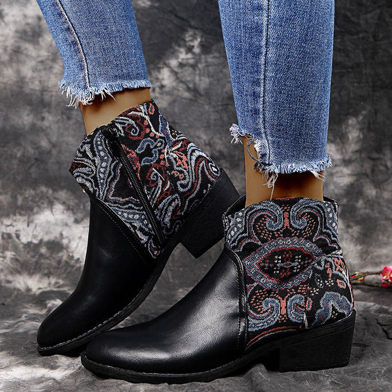 Women Stylish Characteristic Pattern Split Joint Mixed Colors Zipper Chunky Heel Boots
