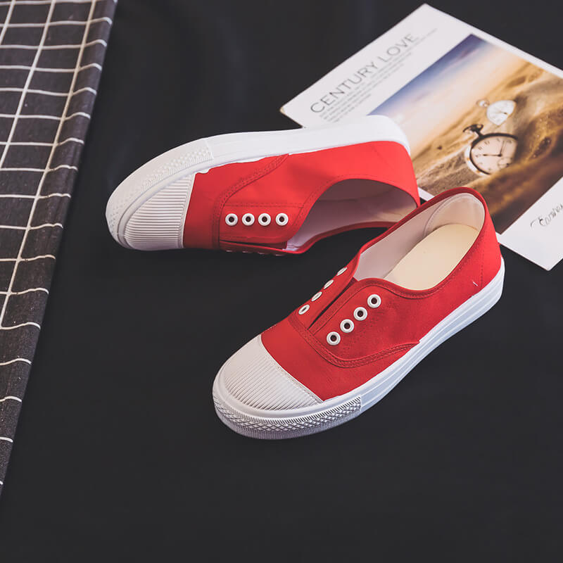 Women Casual Canvas Slip On Flat Heel Skate Shoes