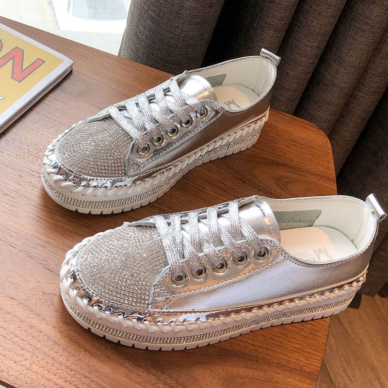 Women Rhinestone Slip On Flat Loafers