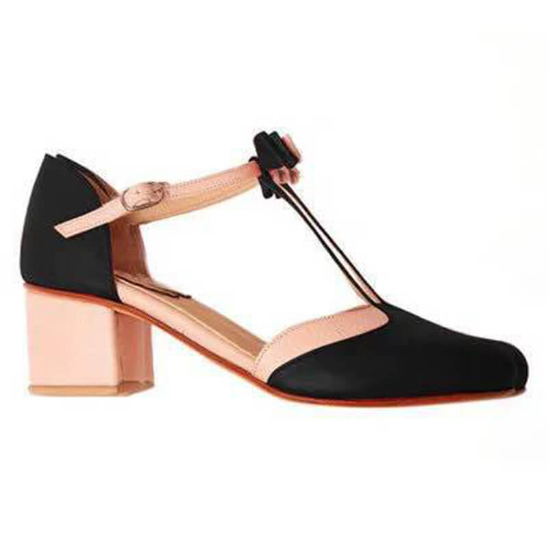 Women Fashion Contrast Color Bowknot Buckle Chunky  Heel Sandals