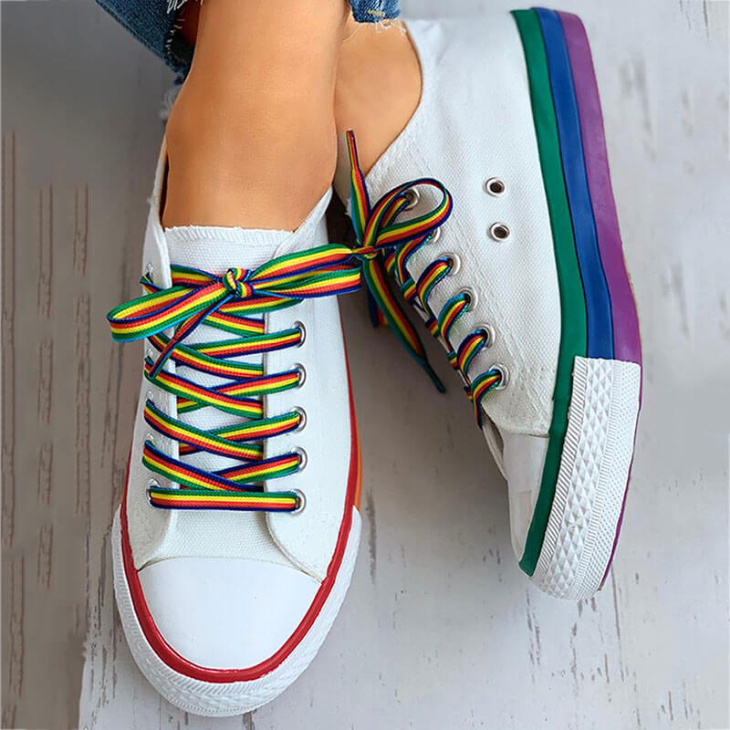 Women Fashion Canvas Color Sole Lace-up Flat Heel Skate Shoes