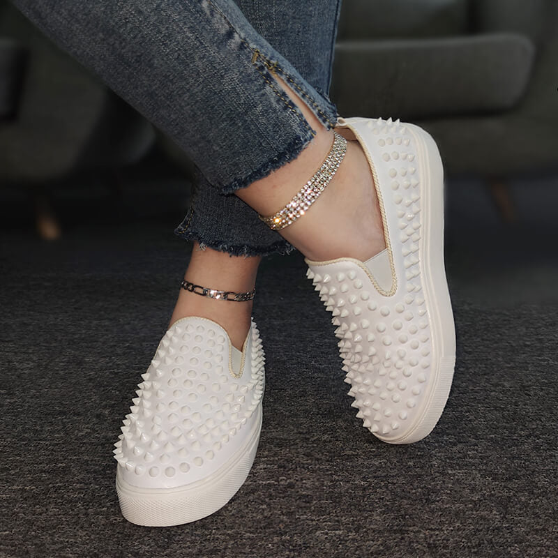 Women Athletic Rivet Slip On Platform Sneakers
