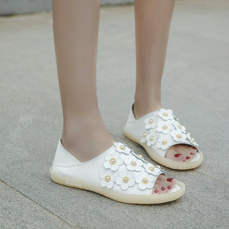 Women Casual Two Style Pearl Applique Sandals
