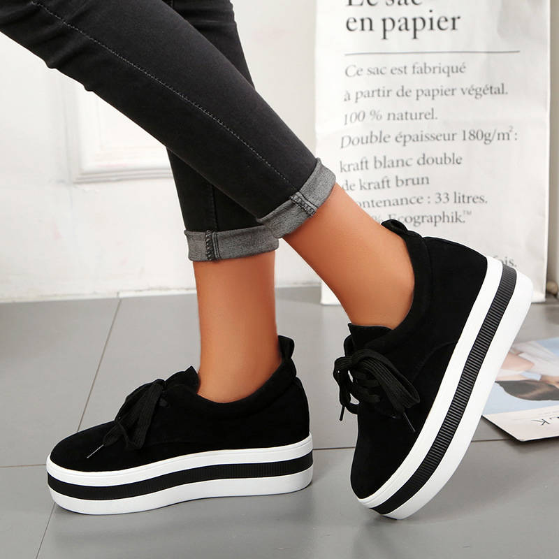 Women Chic Suede Hit Colors Lace Up Creepers Muffin Loafers