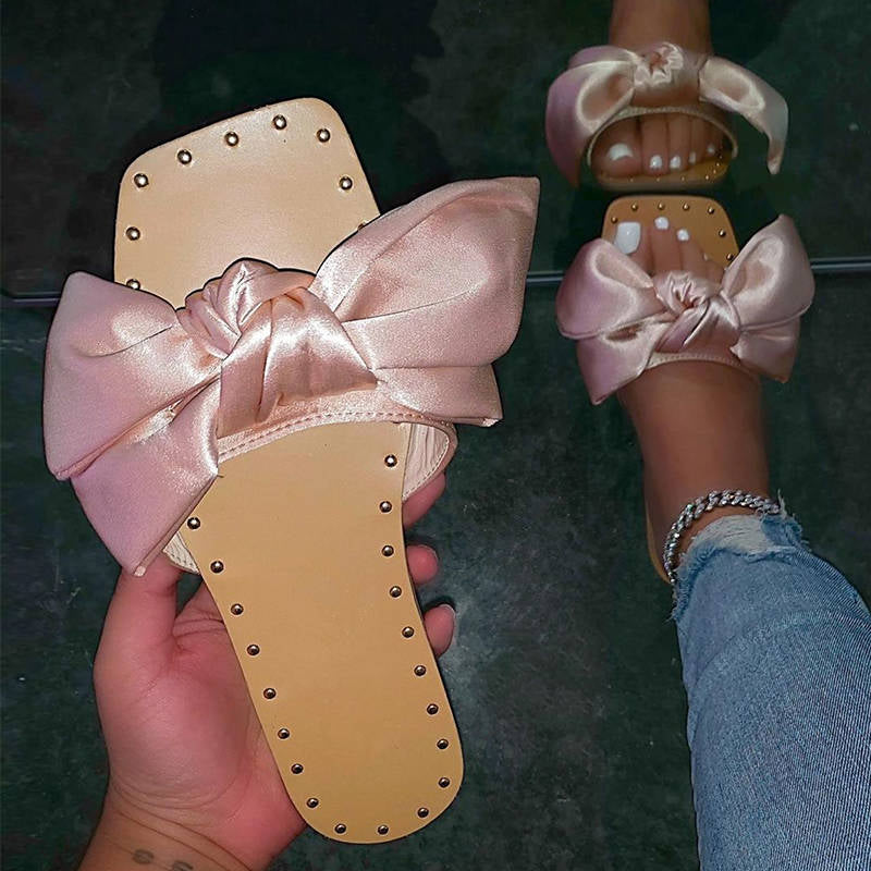 Women Cute Cloth Bowknot Square Open Toe Platform Slippers