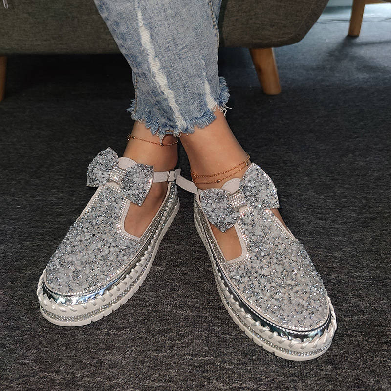Women Sparkle Rhinestones Bowknot Hollow-out Buckle Strap Platform Sandals