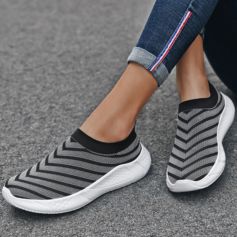 Women Casual Large Size Contrast Color Flyknit Fabric Sneakers