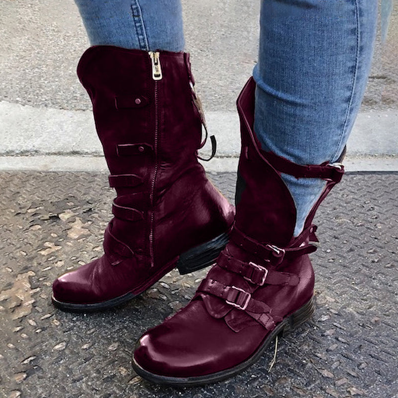 Women Vintage Zipper Buckle Decor Mid-calf Boots