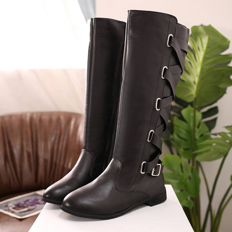 Women Simple Lace Up Buckle Zipper Chunky Heel Knee High Boots