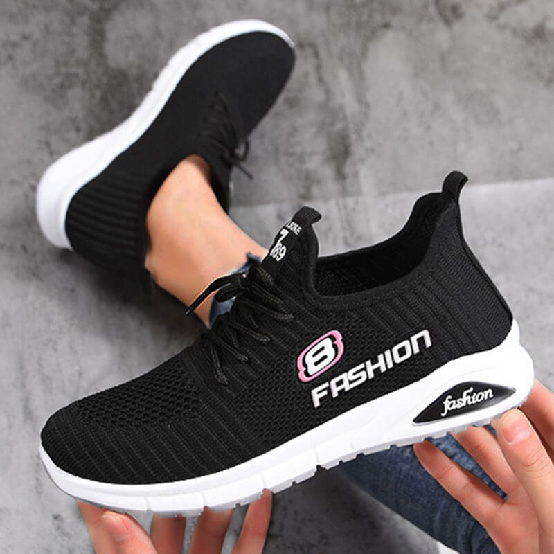 Women Athletic Flyknit Fabric Stripe Lace-up Platform Sneakers