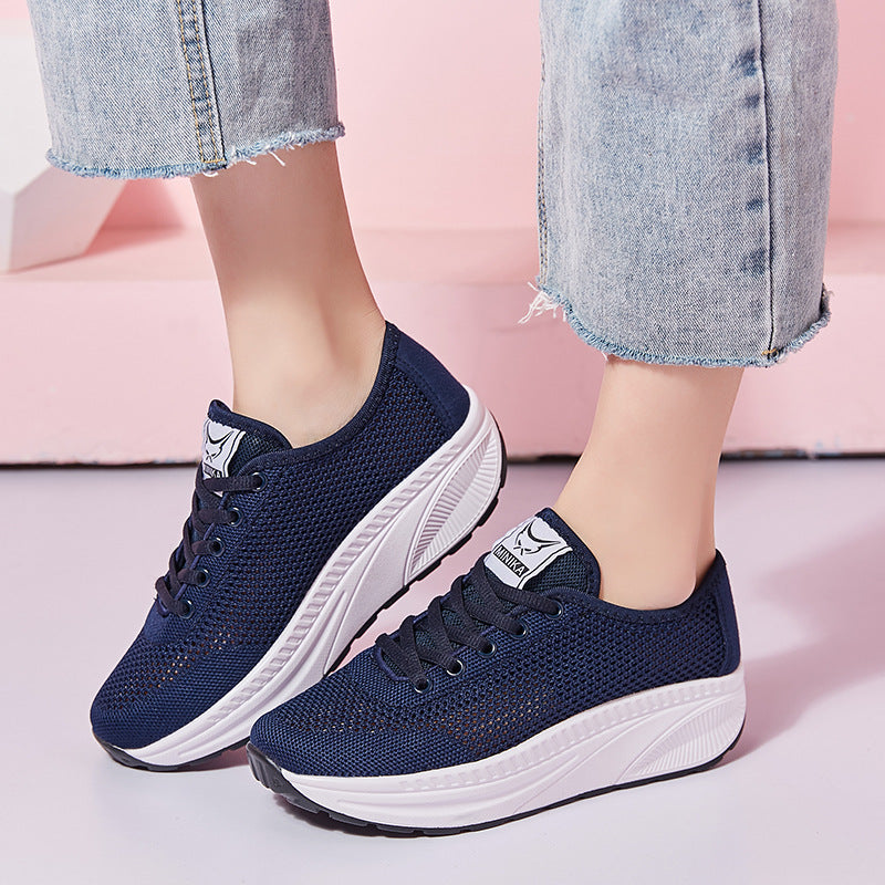 Women Casual Breathable Wedge Heel Lae Up Sneakers