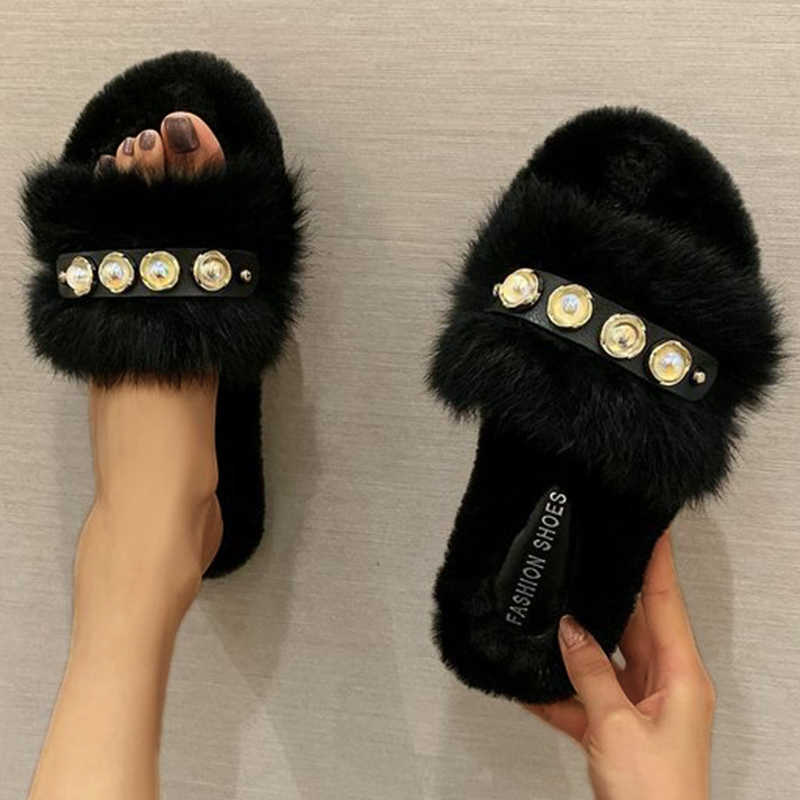 Women Cozy Puffy Artificial Fur Imitation Pearl Flat Heel Slippers
