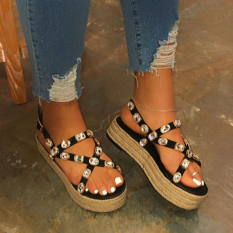 Women Fashion Rhinestones Cross-strap Buckle Strap Espadrille Platform Sandals