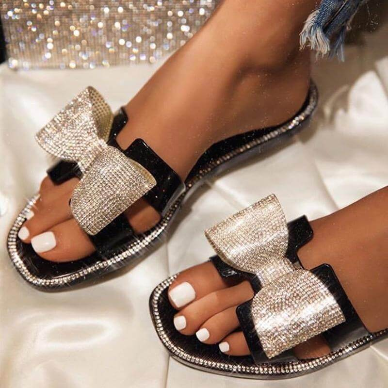 Women Fashion Bling Rhinestone Bowknot Open Toe Slip On Flat Heel Slippers